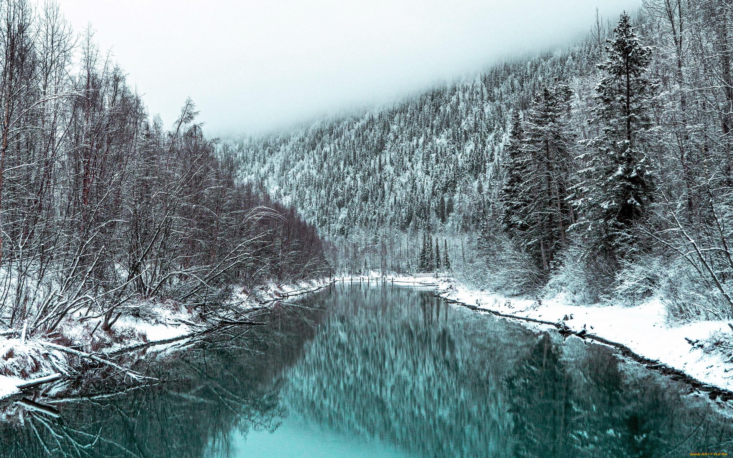 природа, реки, озера, зима, река, снег